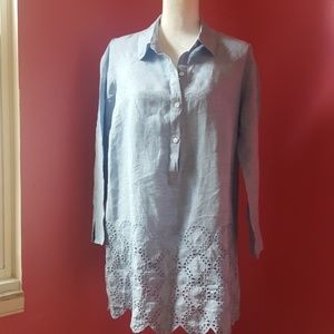 Land's End Blue Linen Embroidered Tunic